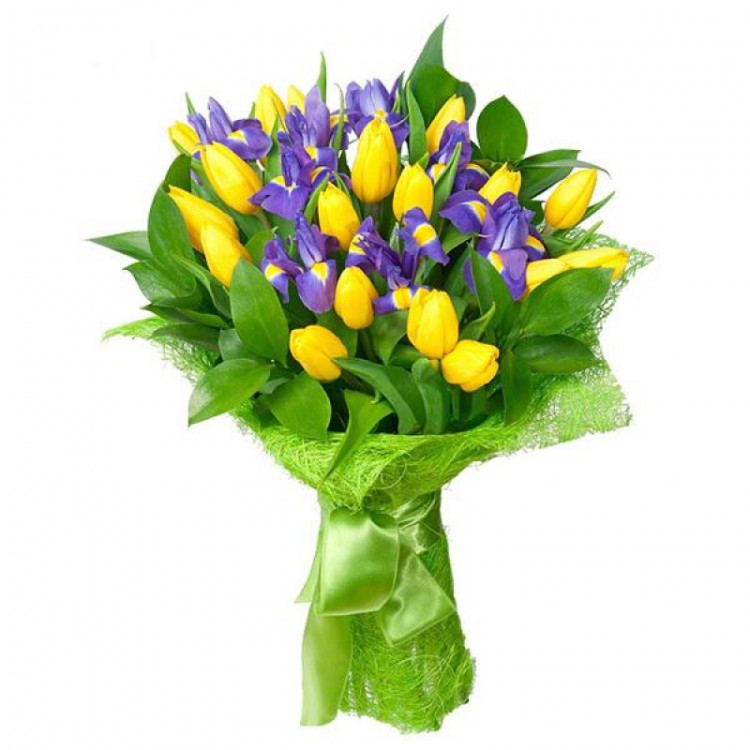 Цветы ирисы тюльпаны букет, доставка