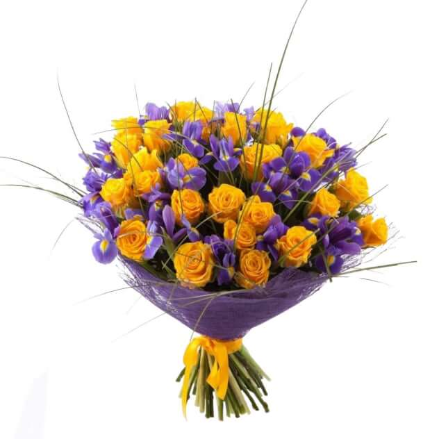 Невесты форме, желтые роза ирисы букет