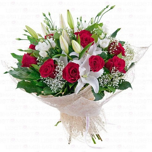 Букеты лилии с розами, роз